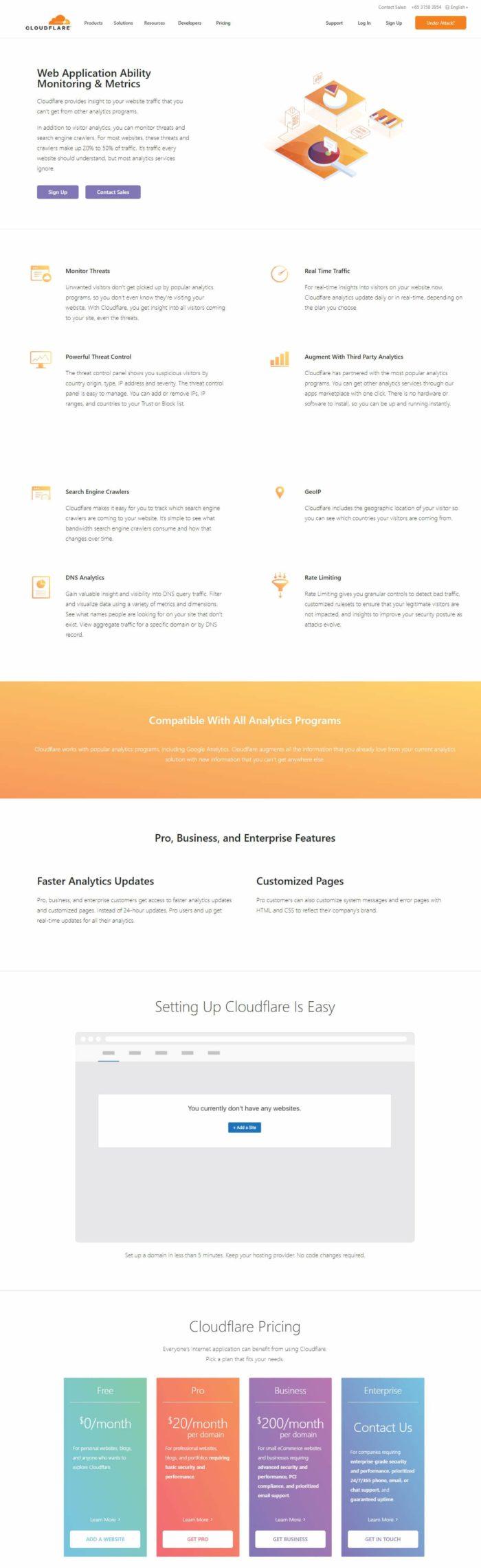 CloudFlare tools analytics