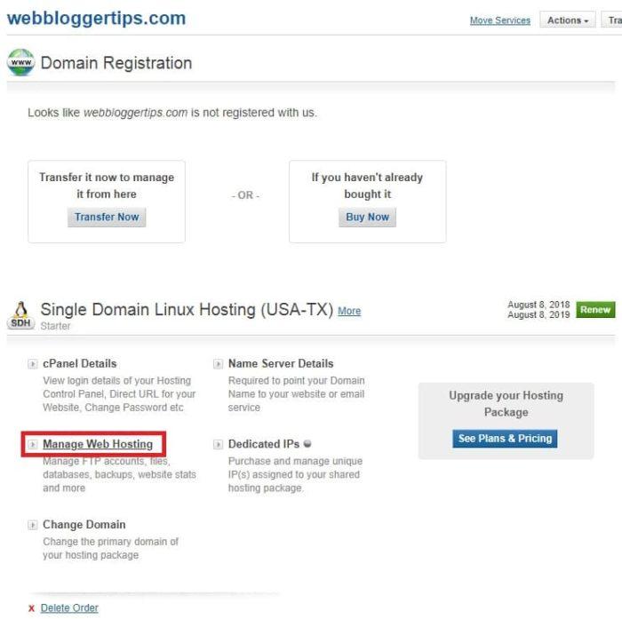 Manage web hosting
