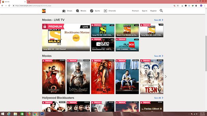 SonyLive movies sites