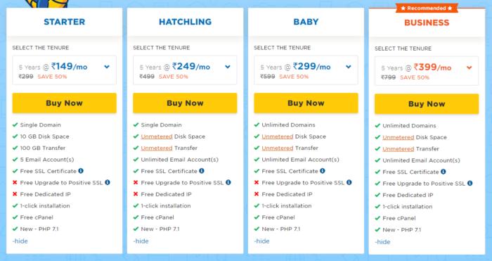 hostgator share hosting plan 2019