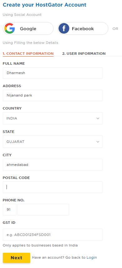 hostgator web hosting account create