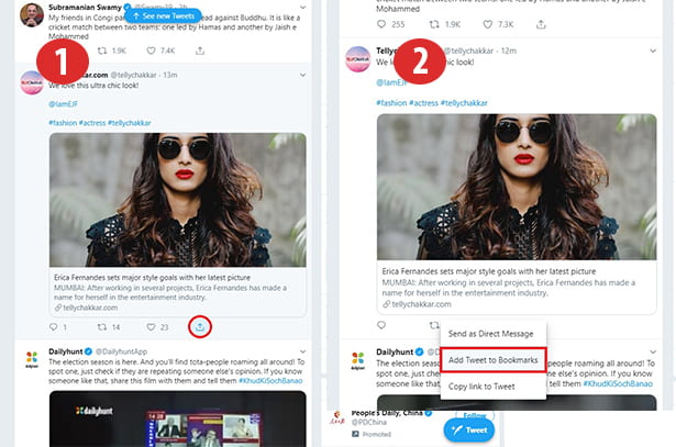 how to twitter bookmark
