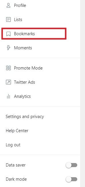 twitter bookmark option